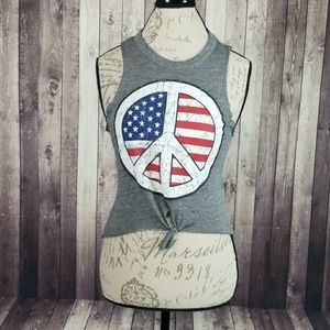 Chaser tie front American Flag Peace Sign tank top